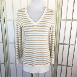 V Neck Metallic Gold Silver Ivory Tunic Sweater
